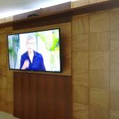 Painel de TV com prateleira superior