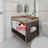 Armário de banheiro com nicho  e porta papel higiênico