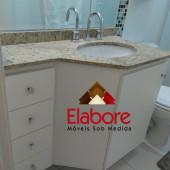 Gabinete para banheiro sextavado em mdf branco