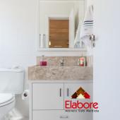Armário de Banheiro em MDF e mármore travertino