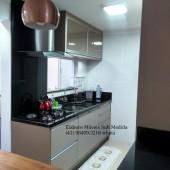 Cozinha em mdf com portas em vidro Espelho Bronze