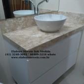 Armário para banheiro em mdf com granito e cuba redonda