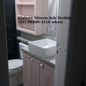 Banheiro planejado sob medida em mdf na cor Rosa